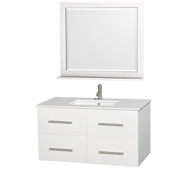 "Centra 42"" Single Bathroom Vanity for Undermount Sinks by Wyndham Collection, Matte White WC-WHE009-42-SGL-VAN-WHT- by Wyndham Collection®"