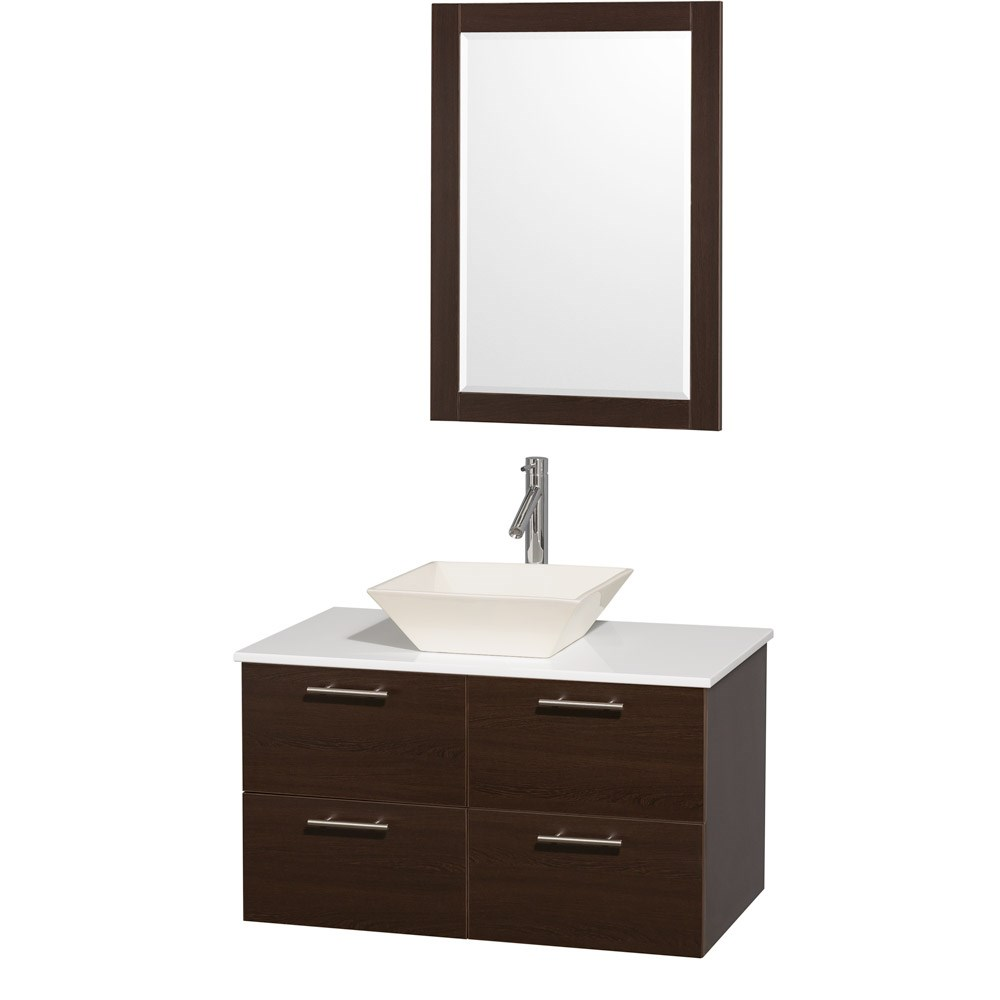Amare 36 inch Wall Mounted Bathroom Vanity Set with Vessel Sink by Wyndham Collection Espresso