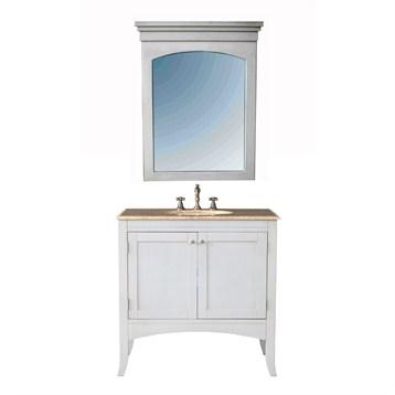"Stufurhome 36"" Alyssa Single Sink Vanity with Travertine Marble Top and Mirror, White GM-6119-36-TR by Stufurhome"