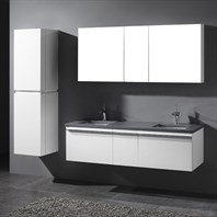 "Madeli Venasca 60"" Double Bathroom Vanity for Quartzstone Top - Glossy White 2X-B990-24-002-GW, UC990-12-007-GW-QUARTZ"