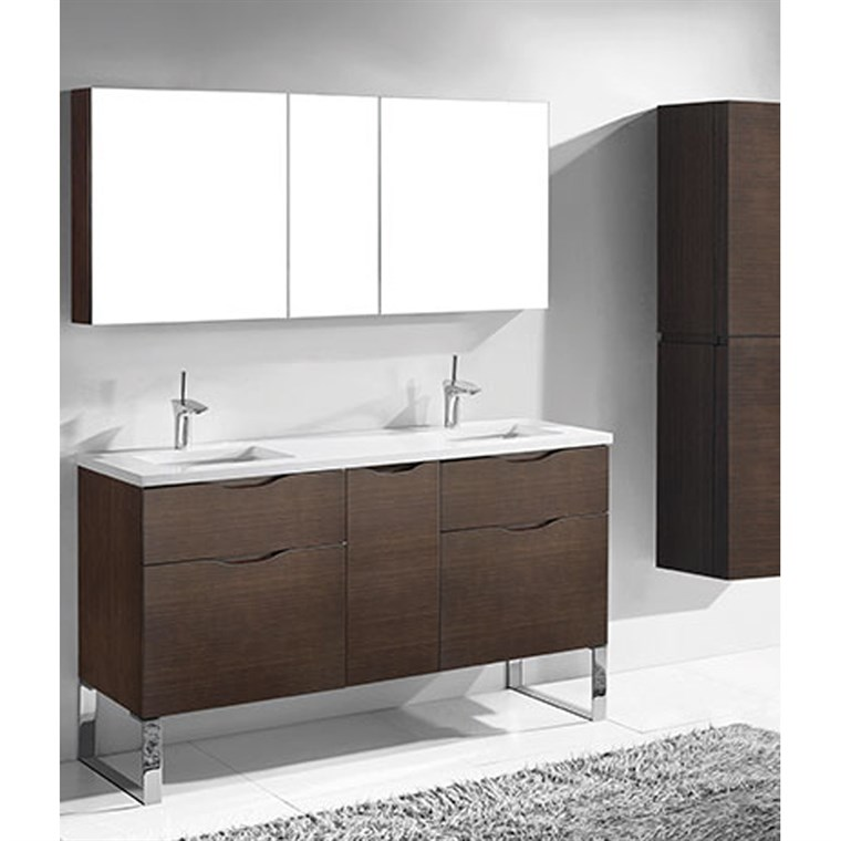 "Madeli Milano 60"" Double Bathroom Vanity for Quartzstone Top - Walnut B200-60D-021-WA-QUARTZ"
