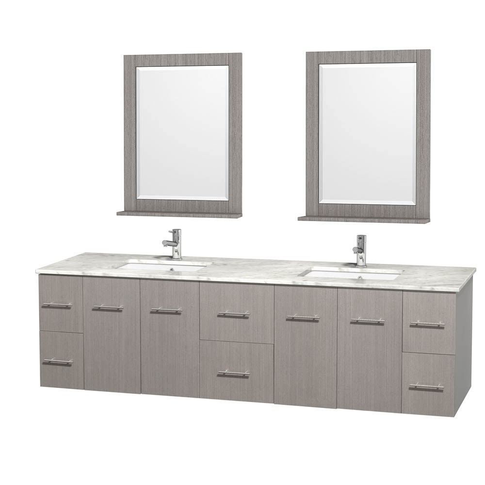 "Centra 80"" Double Bathroom Vanity for Undermount Sinks by Wyndham Collection - Gray Oaknohtin Sale $1499.00 SKU: WC-WHE009-80-DBL-VAN-GRO- :"