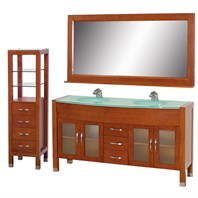 "Daytona 63"" Double Bathroom Vanity Set by Wyndham Collection - Cherry w/ Drawers & Cabinet WC-A-W2200-63-CH-SET-"