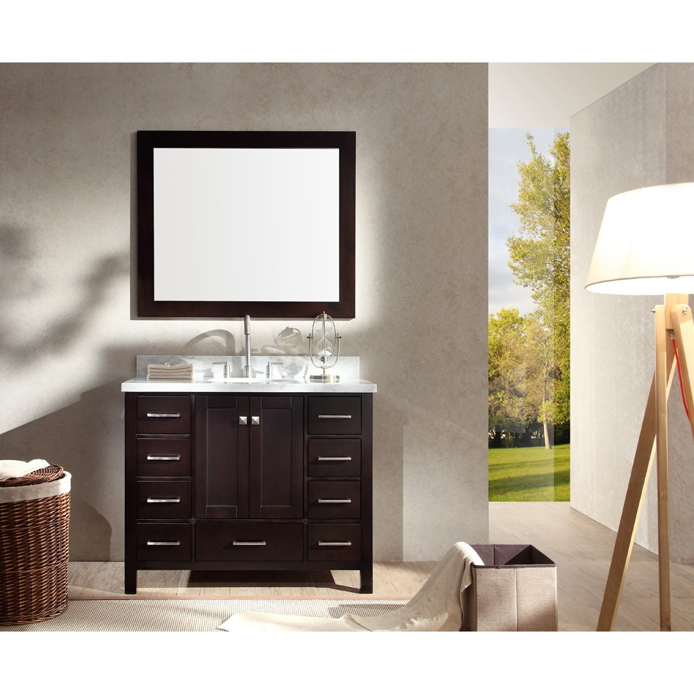"Ariel Cambridge 43"" Single Sink Vanity Set with Carrera White Marble Countertop - Espressonohtin Sale $1349.00 SKU: A043S-ESP :"