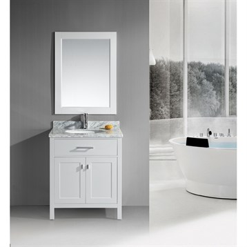"""Design Element London 30"""" Single Vanity with White Carrera Countertop, Sink and Mirror, Pearl White DEC076E-W by Design Element"""