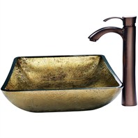VIGO Rectangular Copper Glass Vessel Sink and Faucet Set in Oil Rubbed Bronze VGT157