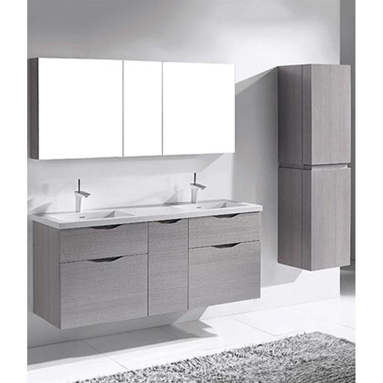 "Madeli Bolano 60"" Double Bathroom Vanity for Integrated Basin - Ash Grey B100-60D-022-AG"