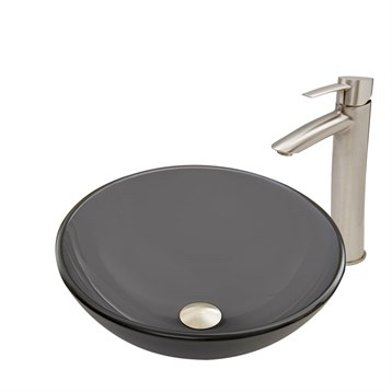 Vigo Sheer Black Frost Glass Vessel Sink and Shadow Faucet Set in Brushed Nickel Finish VGT726 by Vigo Industries