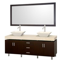 "Malibu 72"" Double Bathroom Vanity Set by Wyndham Collection - Espresso Finish with Ivory Marble Counter and Handles WC-CG3000H-72-ESP-IVO-"