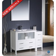 "Fresca Torino 48"" White Modern Bathroom Vanity with Side Cabinet, Integrated Sink, and Mirror FVN62-3612WH-UNS"