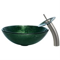 VIGO Emerald Glass Vessel Sink and Waterfall Faucet Set VGT004-ROUND