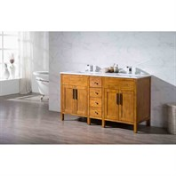 "Stufurhome Evangeline 59"" Double Sink Bathroom Vanity with White Quartz Top - Natural Wood TY-6343-59-QZ"