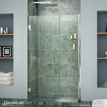 """Bath Authority DreamLine Unidoor Frameless Hinged Shower Door with Glass Shelves, 35""""-43"""" SHDR-20357210CS by Bath Authority DreamLine"""