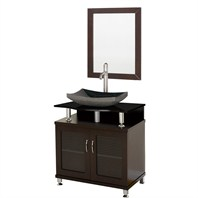 "Accara 30"" Bathroom Vanity - Doors Only - Espresso w/ Black Granite Countertop and Sink B706-30-ESP-BLK"