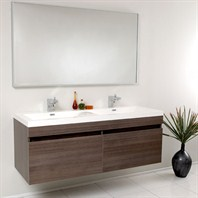 Fresca Largo Gray Oak Modern Bathroom Vanity with Wavy Double Sinks with Mirror FVN8040GO