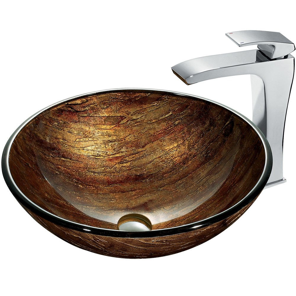 VIGO Amber Sunset Glass Vessel Sink and Faucet Set in Chromenohtin Sale $229.90 SKU: VGT182 :