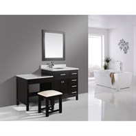 "Design Element London 36"" Vanity Set with Make-up Table - Espresso DEC076D_MUT"