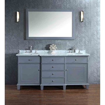 "Stufurhome Cadence Grey 72"" Double Sink Bathroom Vanity with Mirror, Grey HD-7000G-72-CR by Stufurhome"