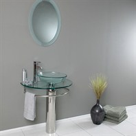 Fresca Attrazione Modern Glass Bathroom Vanity with Frosted Edge Mirror FVN1060