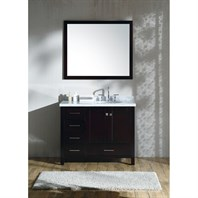 "Ariel Cambridge 43"" Single Sink Vanity Set with Right Offset Sink and Carrara White Marble Countertop - Espresso A043S-R-ESP"