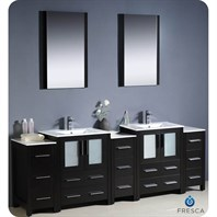 "Fresca Torino 84"" Espresso Modern Double Sink Bathroom Vanity with 3 Side Cabinets, Integrated Sinks, and Mirrors FVN62-72ES-UNS"