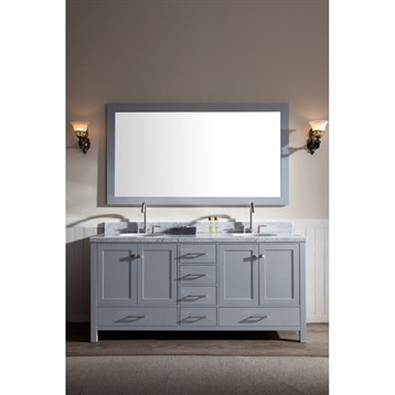 "Ariel Cambridge 73"" Double Sink Vanity Set With Carrera White Marble Countertop - Grey"
