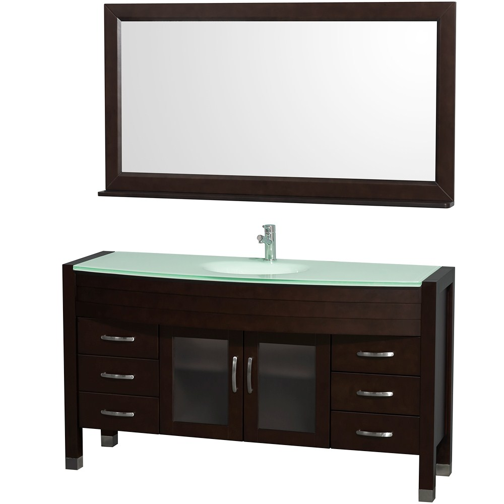 "Daytona 60"" Bathroom Vanity with Mirror by Wyndham Collection - Espressonohtin Sale $1699.00 SKU: WC-A-W2109-60-ESP- :"