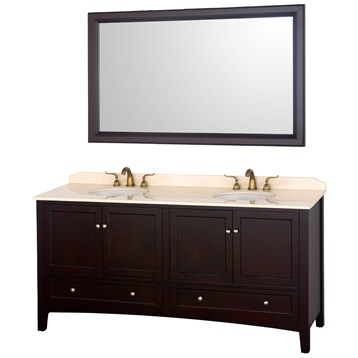 "Audrey 72"" Double Bathroom Vanity with Mirror by Wyndham Collection, Espresso WC-G0001-72-ESP- by Wyndham Collection®"