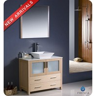 "Fresca Torino 36"" Light Oak Modern Bathroom Vanity with Vessel Sink FVN6236LO-VSL"