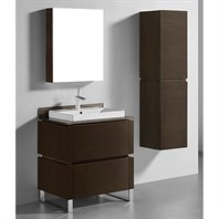 "Madeli Metro 30"" Bathroom Vanity for Glass Counter and Porcelain Basin - Walnut B600-30-001-WA-GLASS"