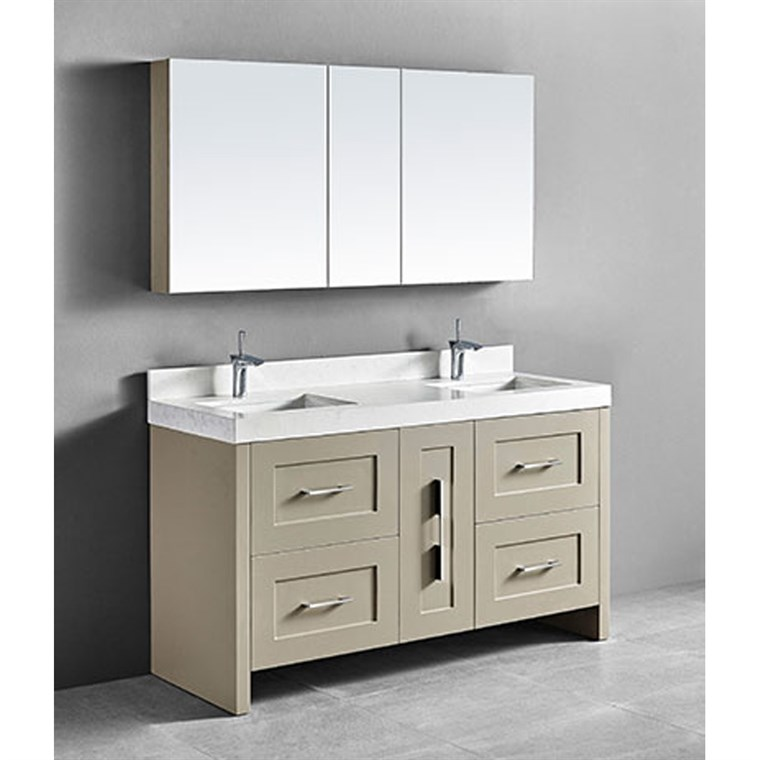 "Madeli Retro 60"" Double Bathroom Vanity for Quartzstone Top - Cashmere B700-60D-001-CM-QUARTZ"
