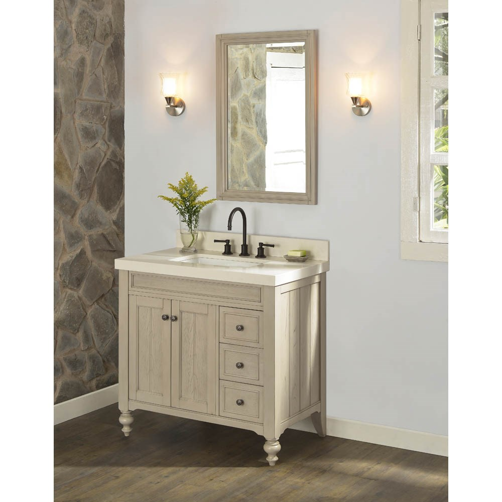 "Fairmont Designs Crosswinds 36"" Vanity Drawers on Right for Quartz Top - Slate Graynohtin Sale $1135.00 SKU: 1524-V36R_ :"