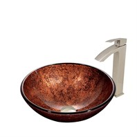 VIGO Mahogany Moon Glass Vessel Sink and Duris Faucet Set VGT394-