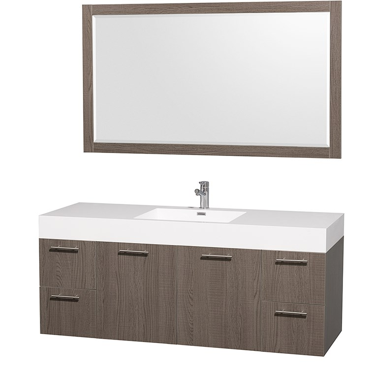 "Amare 60"" Wall-Mounted Single Bathroom Vanity Set with Integrated Sink by Wyndham Collection - Gray Oak WC-R4100-60-VAN-GRO-SGL-"