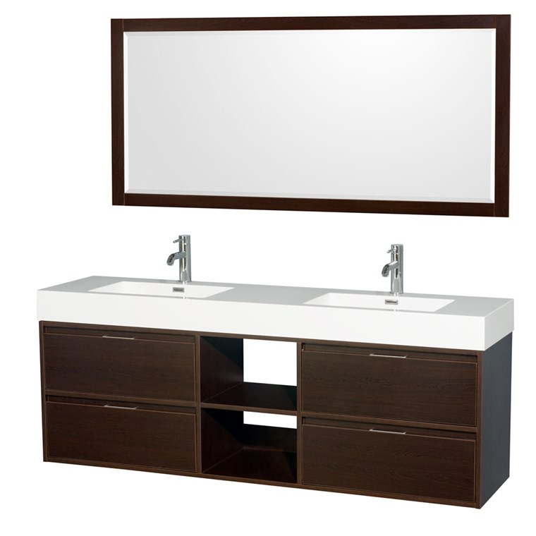 "Daniella 72"" Wall-Mounted Double Bathroom Vanity Set With Integrated Sinks by Wyndham Collection - Espresso WC-R4600-72-VAN-ESP"