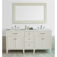 "Stufurhome 72"" Christine Double Sink Vanity with White Marble Top - White GM-1203-72-WM"