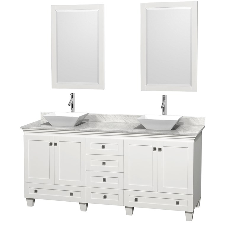 "Acclaim 72"" Double Bathroom Vanity for Vessel Sinks - White WC-CG8000-72-DBL-VAN-WHT"