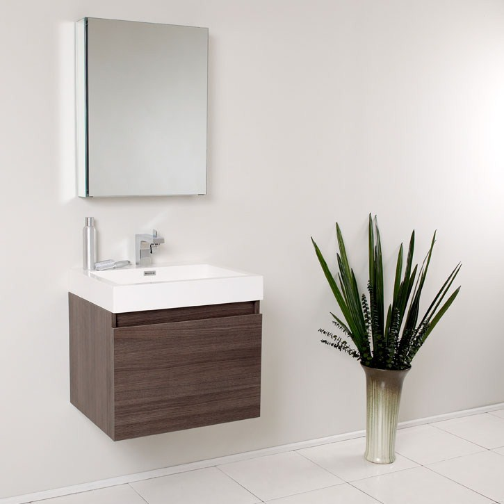 Fresca Nano Gray Oak Modern Bathroom Vanity with Medicine Cabinet