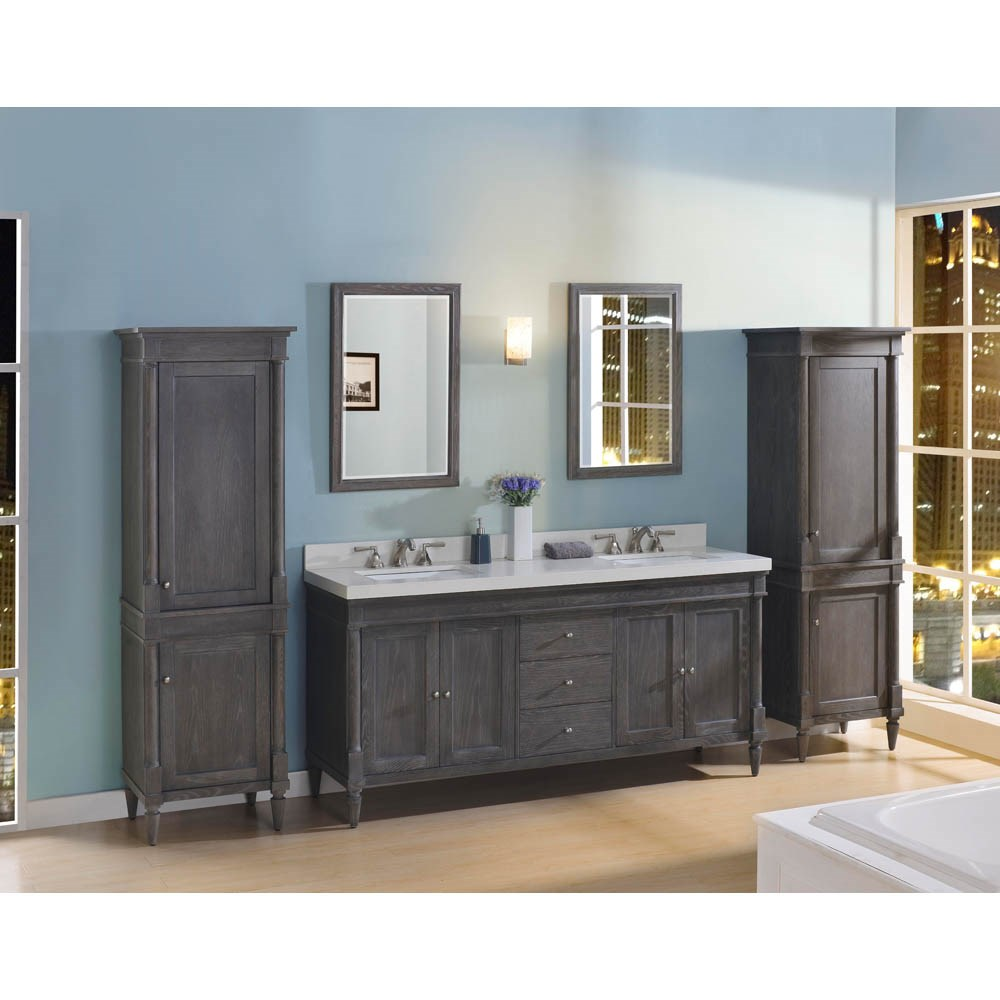 "Fairmont Designs Rustic Chic 72"" Vanity-Double Bowl for Quartz Top - Silvered Oaknohtin Sale $2510.00 SKU: 143-V7221D_ :"