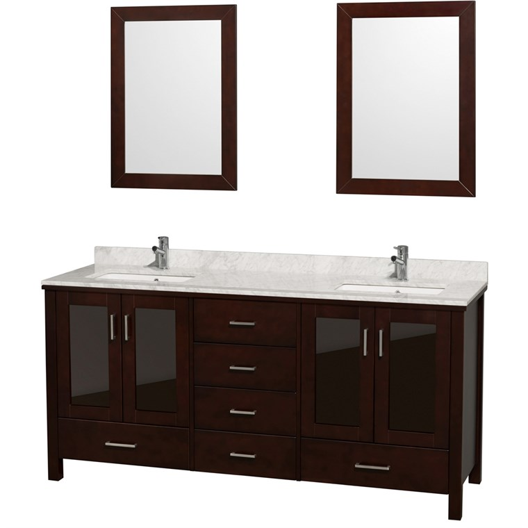 "Lucy 72"" Double Bathroom Vanity Set Undermount by Wyndham Collection - Espresso WC-MS015-72-ESP-UNDER-"