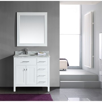 """Design Element London 36"""" Single Vanity with Drawers on the Right, White Carrera Countertop, Sink and Mirror, Pearl... by Design Element"""