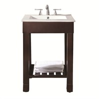 "Loft 25"" Single Modern Bathroom Vanity Set - Dark Walnut"