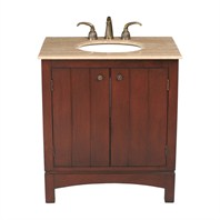 "Stufurhome 32"" Charleston Single Sink Vanity with Travertine Marble Top - Dark Cherry GM-2203-32-TR"