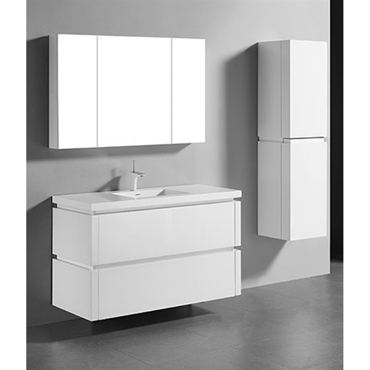 "Madeli Cube 48"" Single Wall-Mounted Bathroom Vanity for Integrated Basin - Glossy White B500-48C-002-GW"