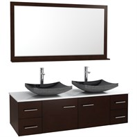 "Bianca 60"" Wall-Mounted Double Bathroom Vanity - Espresso WHE007-60-ESP-"