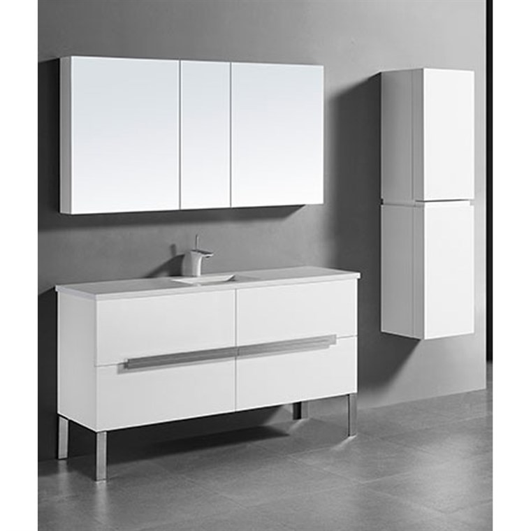 "Madeli Soho 60"" Single Bathroom Vanity for Quartzstone Top - Glossy White B400-60C-001-GW-QUARTZ"