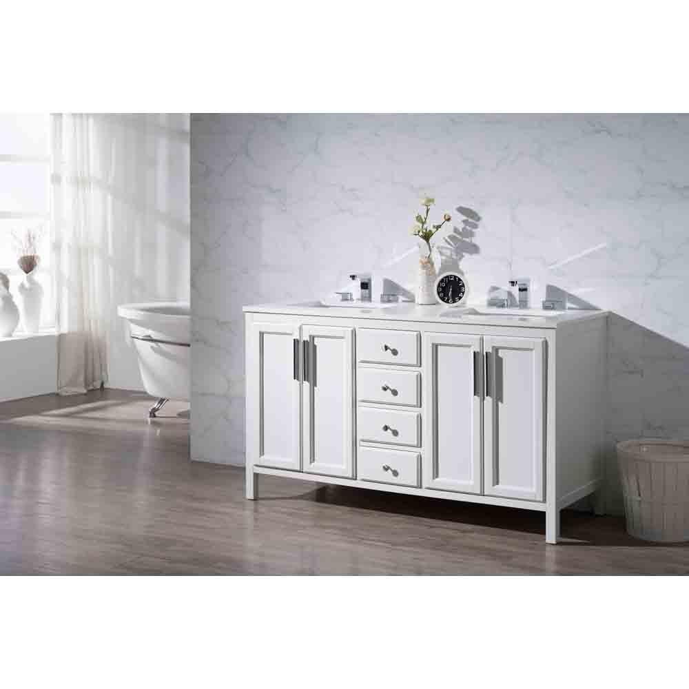 Stufurhome Emily 59 Double Sink Bathroom Vanity With White Quartz