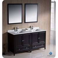 "Fresca Oxford 60"" Traditional Double Sink Bathroom Vanity - Espresso FVN20-3030ES"