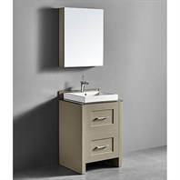 "Madeli Retro 24"" Bathroom Vanity for Glass Counter and Porcelain Basin - Cashmere B700-24-001-CM-GLASS"