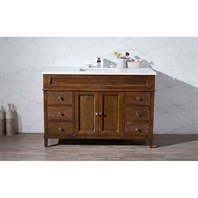 "Stufurhome Hamilton 49"" Single Sink Bathroom Vanity with White Quartz Top - Natural Wood TY-7615-49-QZ"